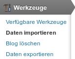 Werkzeuge-Daten importieren